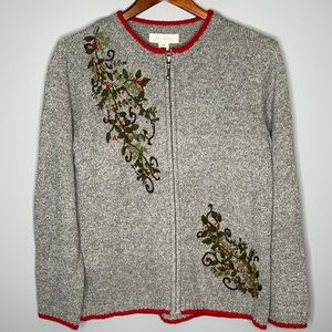 Vintage Tradition grey embroidered holly berry Christmas zippered cardigan Sm